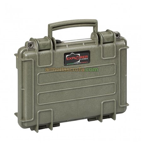 Maletin para pistola verde, espuma corrugada en el interior Explorer Cases Armeria Scrofa